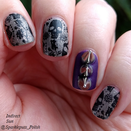 Monster Mania nails Swaying Grayly by Literary Lacquers and Savita by Zoya