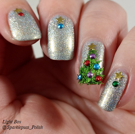 Alicia by Zoya Christmas tree nail art