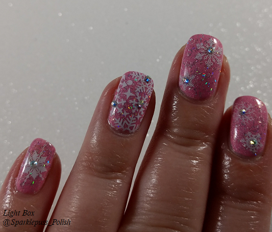 Cotton Candy Clouds by Grace-full Nail Polish and Noelle by 77 Nail Lacquer with snowflakes 1