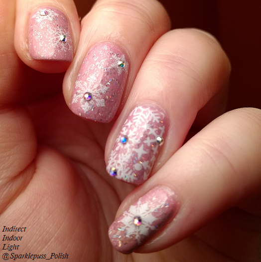 Cotton Candy Clouds by Grace-full Nail Polish and Noelle by 77 Nail Lacquer with snowflakes 2