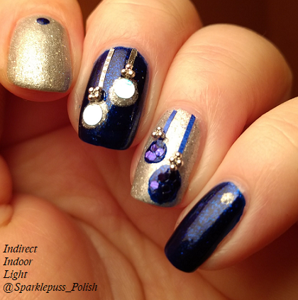 Ornament Christmas nail art with Addie Mae by Parrot Polish and The Gilded Spoon by Gothic Gala Lacquers